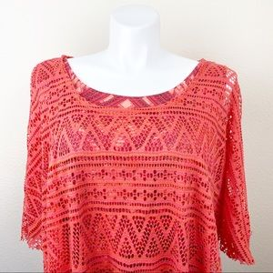 Live And Let Live Woman's Plus Size Coral Top 2X